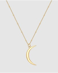 Elli Jewelry - Necklace Ball Chain Half Moon Astro Pendant 925 Sterling Silver God Plated