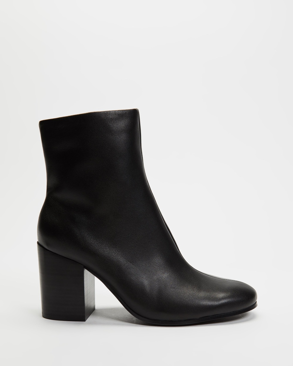 AERE Soft Leather Block Heel Ankle Boots Black Leather