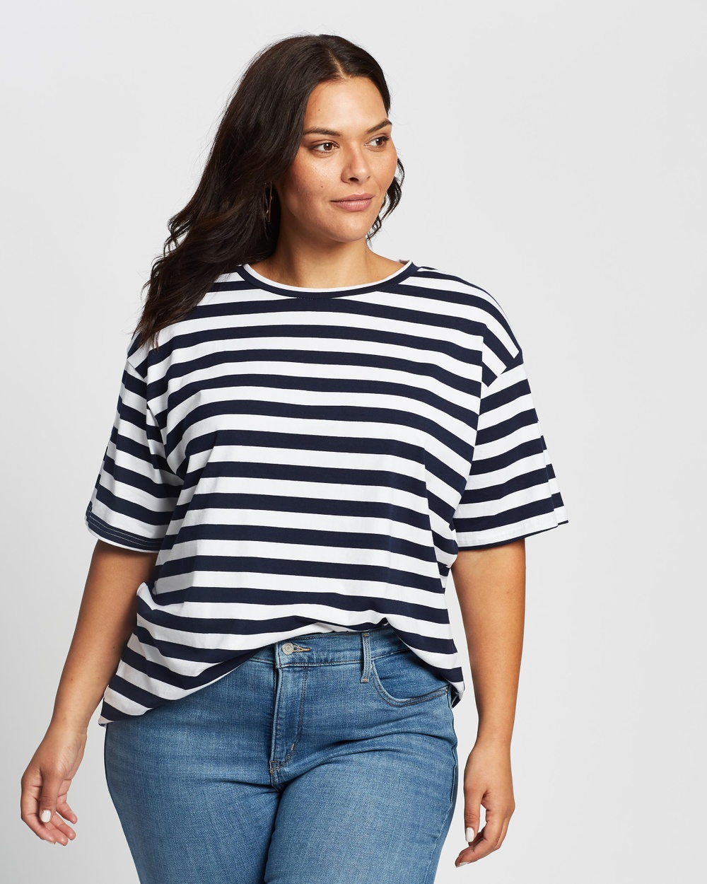 Atmos&Here Curvy - Harry Boyfriend Tee - T-Shirts & Singlets (Navy & White Stripe) Harry Boyfriend Tee