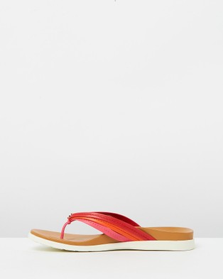 Vionic Catalina Toe Post Sandals - All thongs (Pink & Red)