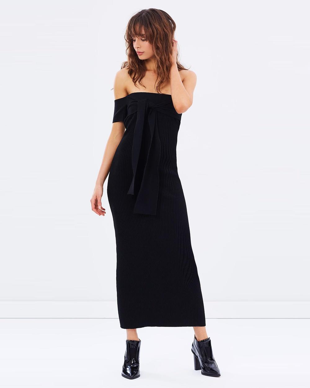 Friend of Audrey Black Escada Off Shoulder Knit Dress