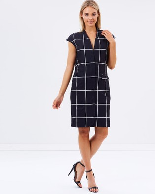 Pink Ruby – Victoria Crossover Dress – Dresses (Black Check)