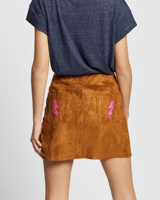 LENNI the label Bolt Skirt - Leather skirts (Tan Faux Suede)