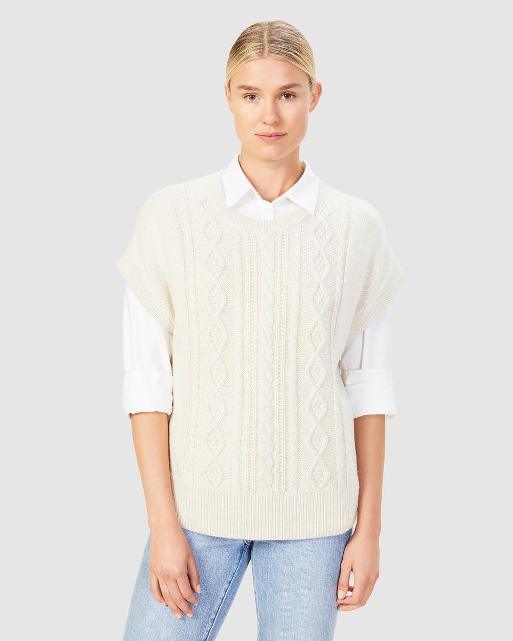 French Connection Cable Knit Vest Jumpers & Cardigans ECRU MELANGE Australia