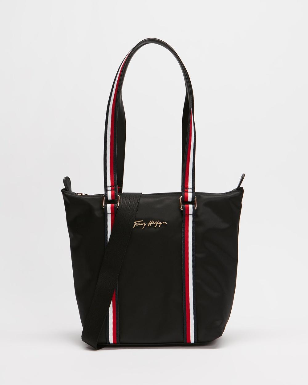 Tommy Hilfiger New Nylon Small Tote Handbags Black