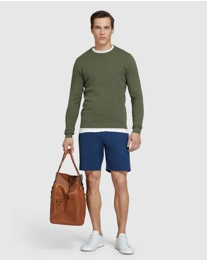 Oxford Riley Textured Crew Neck Pullover Khaki