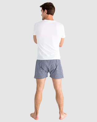 Sant And Abel Men's Hepburn Gingham Navy Boxer Shorts - Sleepwear (Blue)