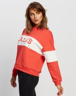Rolla's - Logo Split Sweater - Sweats (Faded Red) Logo Split Sweater