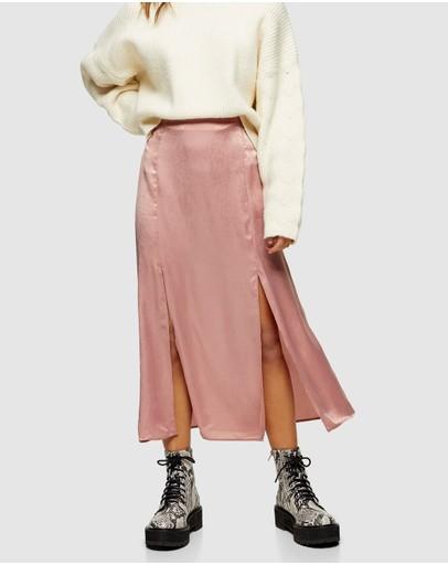 Topshop Petite Double Split Midi Skirt Pink