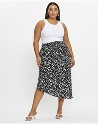 You & All - Plus Twist Detail Asymmetrical Wrap Midi Skirt