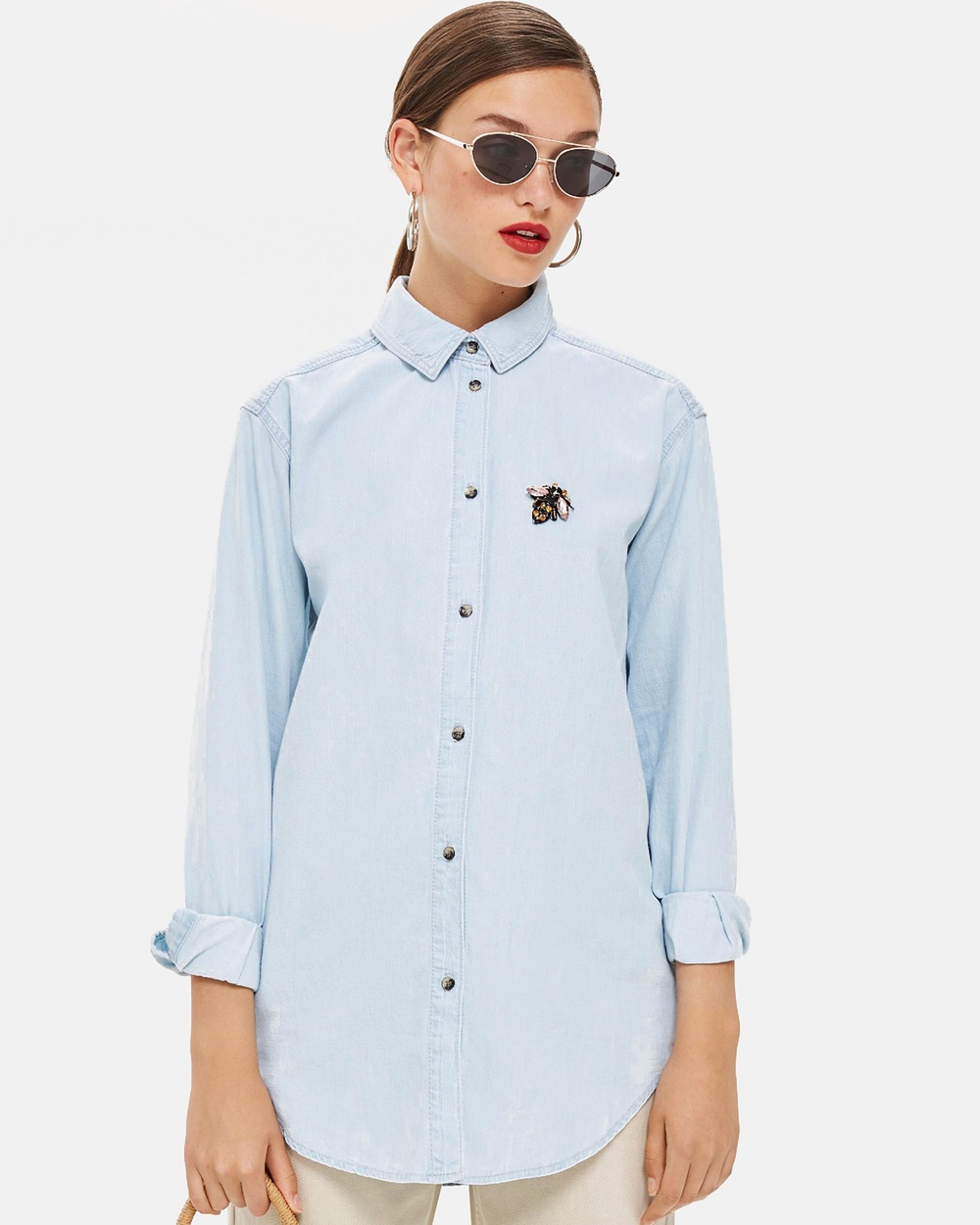 TOPSHOP Denim Bee Embellished Shirt Tops Light Denim Denim Bee Embellished Shirt