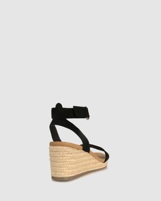 Zeroe Wide Fit Kiwi Comfort Wedge Sandals - Wedges (Black)