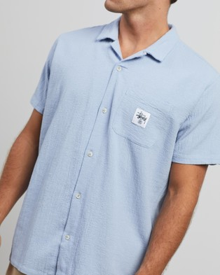 Stussy Grid Seersucker SS Shirt - Casual shirts (Dusty Blue)