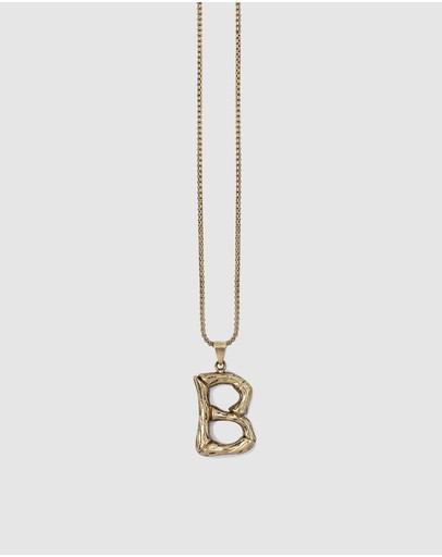 Kitte Bambu Initial Necklace 'b' Gold