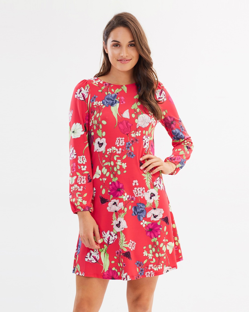 Wallis Petal Oriental Swing Dress Printed Dresses Pink Petal Oriental Swing Dress