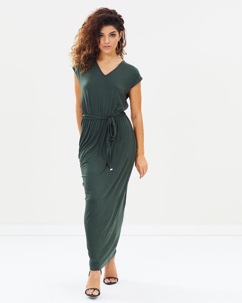 DP Petite Crochet Back Maxi Dress Dresses Green Crochet Back Maxi Dress