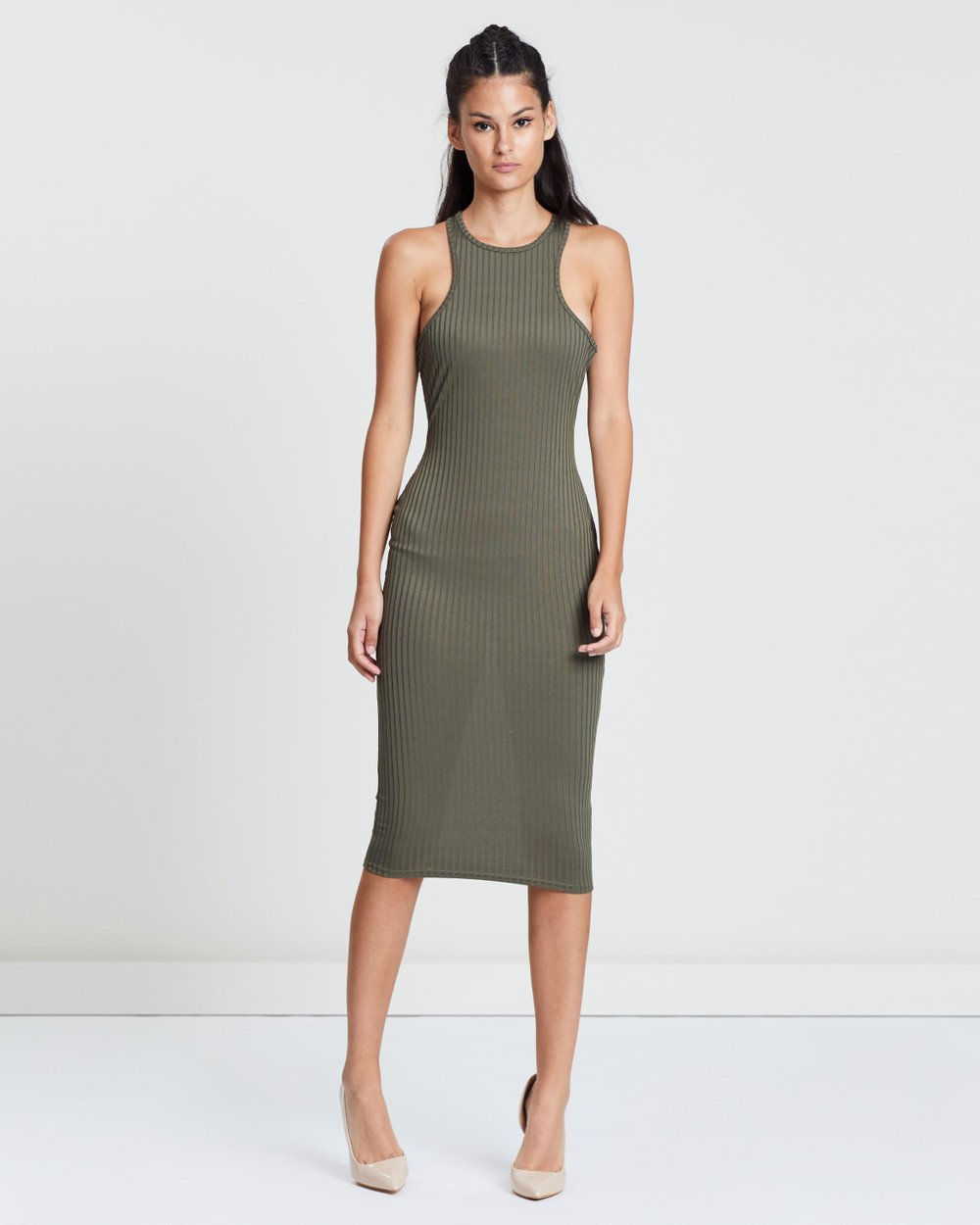 5bb4fde9ff72 Ribbed Racer Neck Bodycon Midi Dress by Missguided Online | THE ICONIC |  Australia
