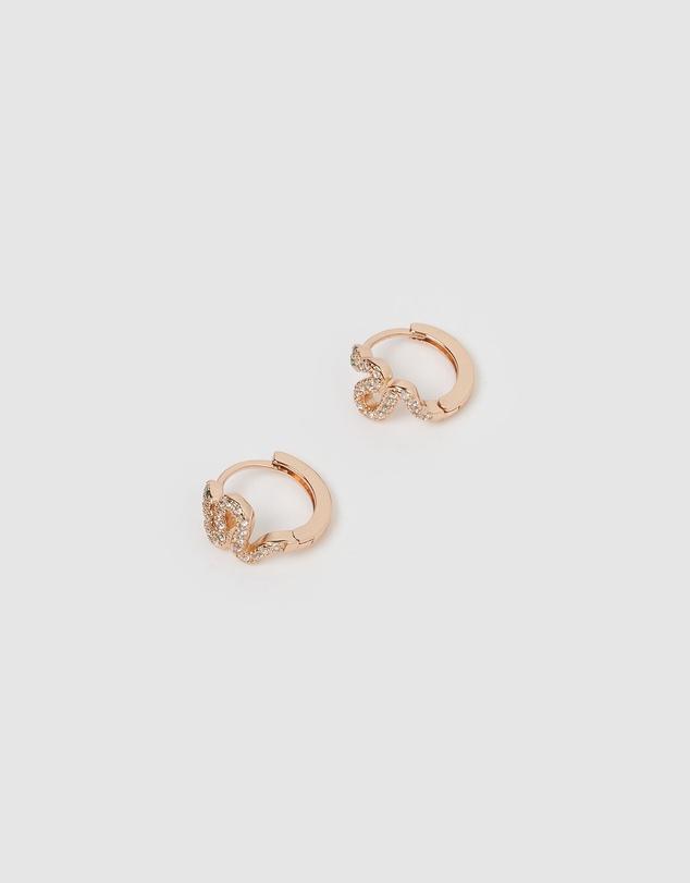 Women Cobra Huggie Earrings Rose Gold