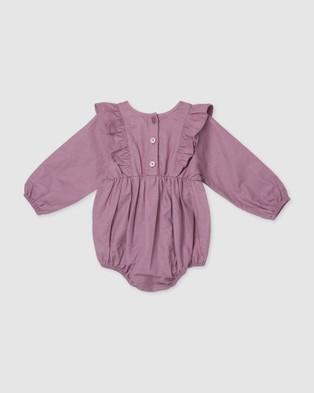 Designer Kidz - Olivia Linen Ruffle Romper Rompers (Purple)