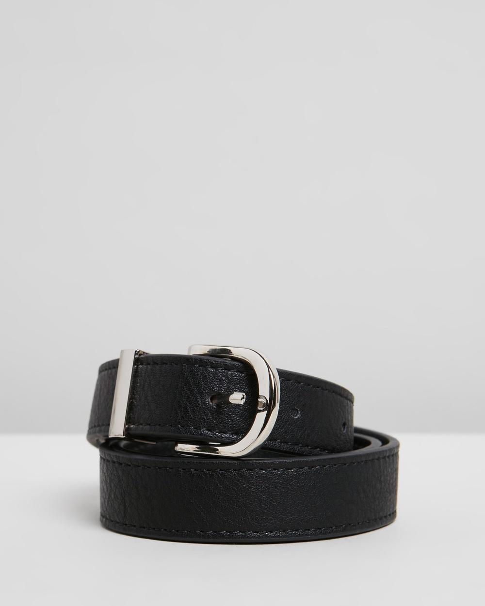 PETA AND JAIN Kendrick Belt Belts Black PU & Silver