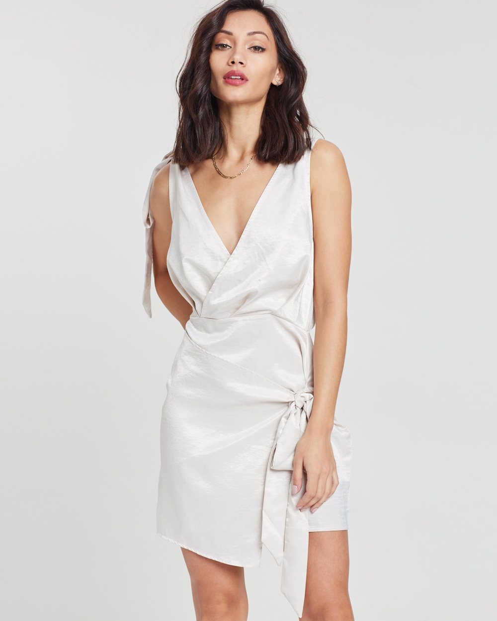 Missguided Silky Shift Dress Dresses Cream Silky Shift Dress