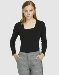 ARIS - Square Neck Knit Top - Black
