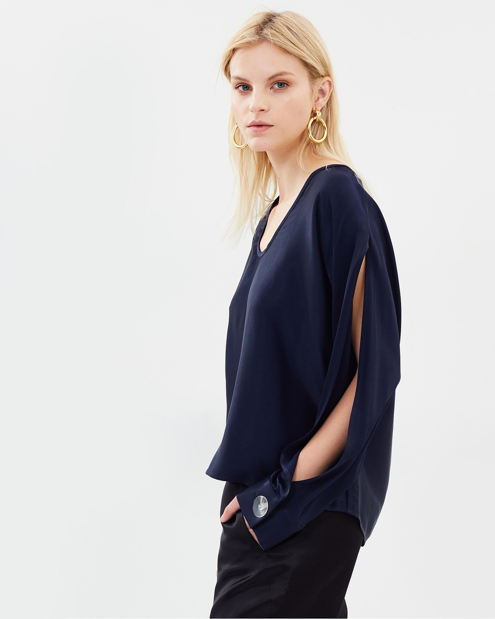 Christopher Esber Resin Cuffed Open Sleeve Blouse Tops Navy Resin Cuffed Open Sleeve Blouse