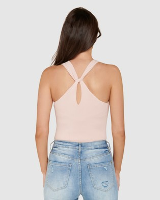 Forever New Nova Twist Back Racer Knit Top - T-Shirts & Singlets (Candy Bubblegum)