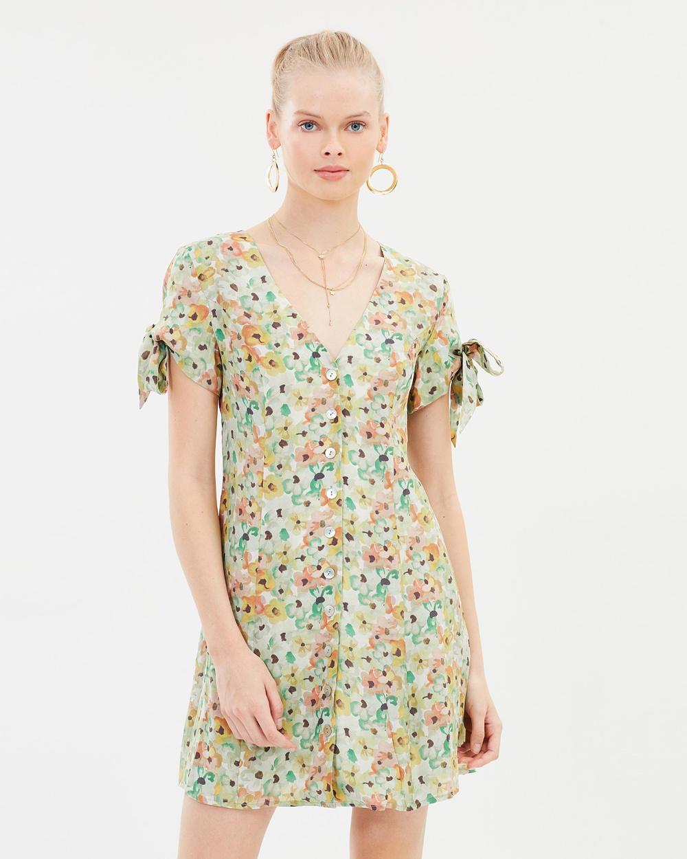 Hansen & Gretel Natalia Silk Dress Printed Dresses Watercolour Natalia Silk Dress