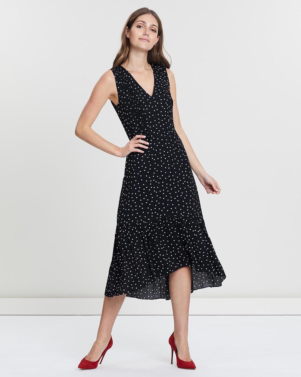 David Lawrence BLACK Sleeveless Pintuck Polka Dot Dress