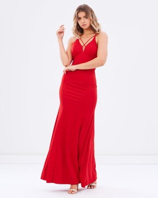 Bariano – Forget Me Not V Neckline Gown – Bridesmaid Dresses Red