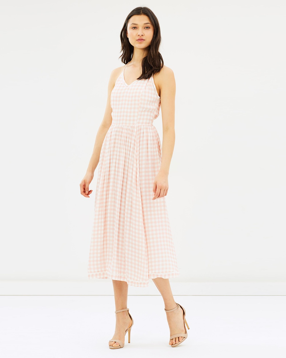 IMONNI A Line Dress Dresses Blush & Ivory Gingham A-Line Dress