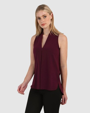 Forcast Tara V Neck Tunic Top - Tops (Plum)