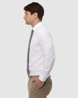 Brooksfield - Textured Plain Reg Fit Business Shirt Shirts & Polos (White)