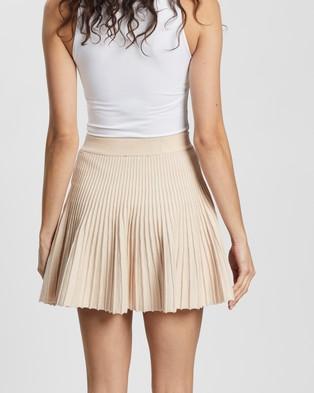 Atmos&Here Lillia Knit Mini Skirt Pleated skirts Beige
