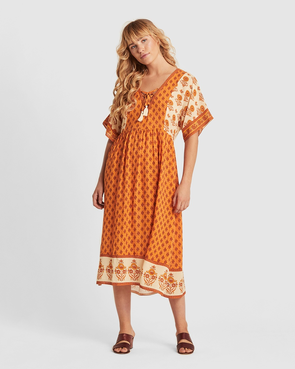 Arnhem Orange Soriah Marmalade Midi Dress