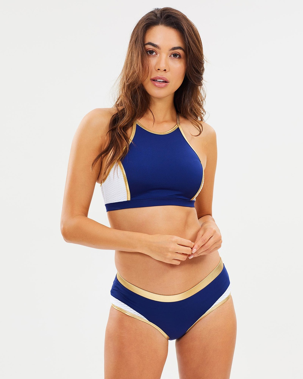 Aqua Blu Australia Athletica D DD T Bar Top & Surf Pant Set Bikini Set Navy Athletica D-DD T-Bar Top & Surf Pant Set