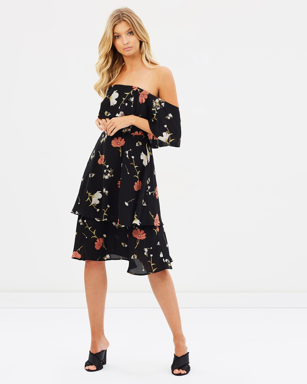 Atmos & Here ICONIC EXCLUSIVE Karlie Off Shoulder Midi Dress Printed Dresses Black Scattered Floral ICONIC EXCLUSIVE Karlie Off-Shoulder Midi Dress