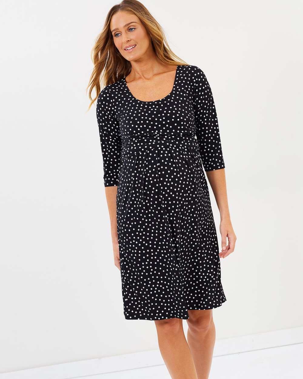 0ff13596932 Maternity Busy Mummy Nursing Dress in Dots by Angel Maternity Online | THE  ICONIC | Australia
