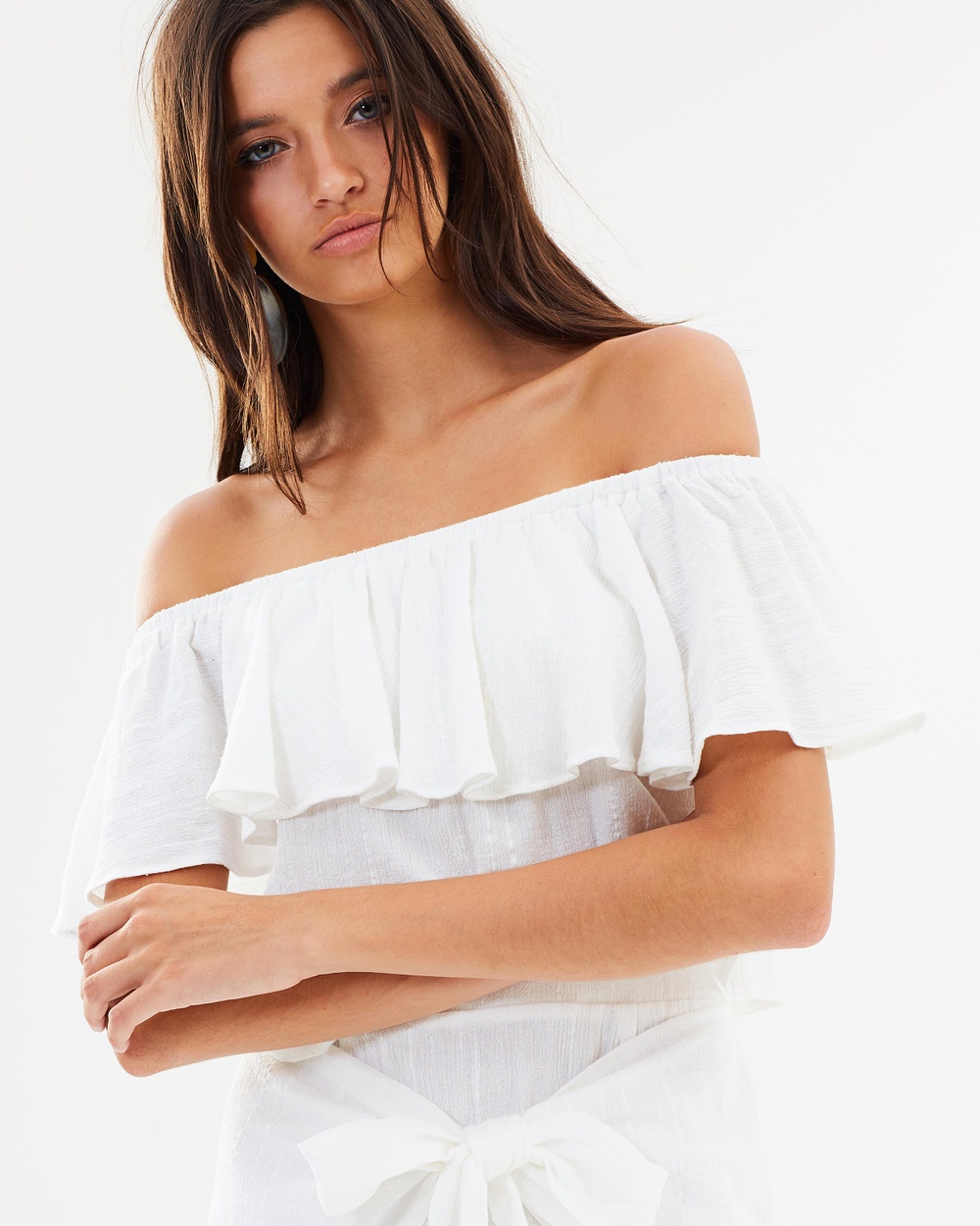 Dazie Rito Off the Shoulder Frill Top Cropped tops White Rito Off-the-Shoulder Frill Top