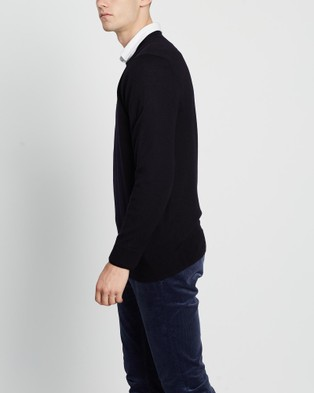 3 Wise Men The Driver Merino Knit - Jumpers & Cardigans (Navy)