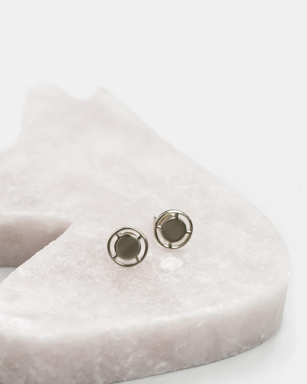 CA Jewellery Compass Stud Earrings Silver silver