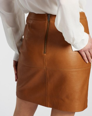 SABA Lilia Leather Mini Skirt - Leather skirts (brown)