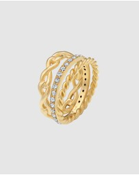 Elli Jewelry - Ring Set Infinity Symbol with Swarovski® Crystals in 925 Sterling Silver Gold Plated
