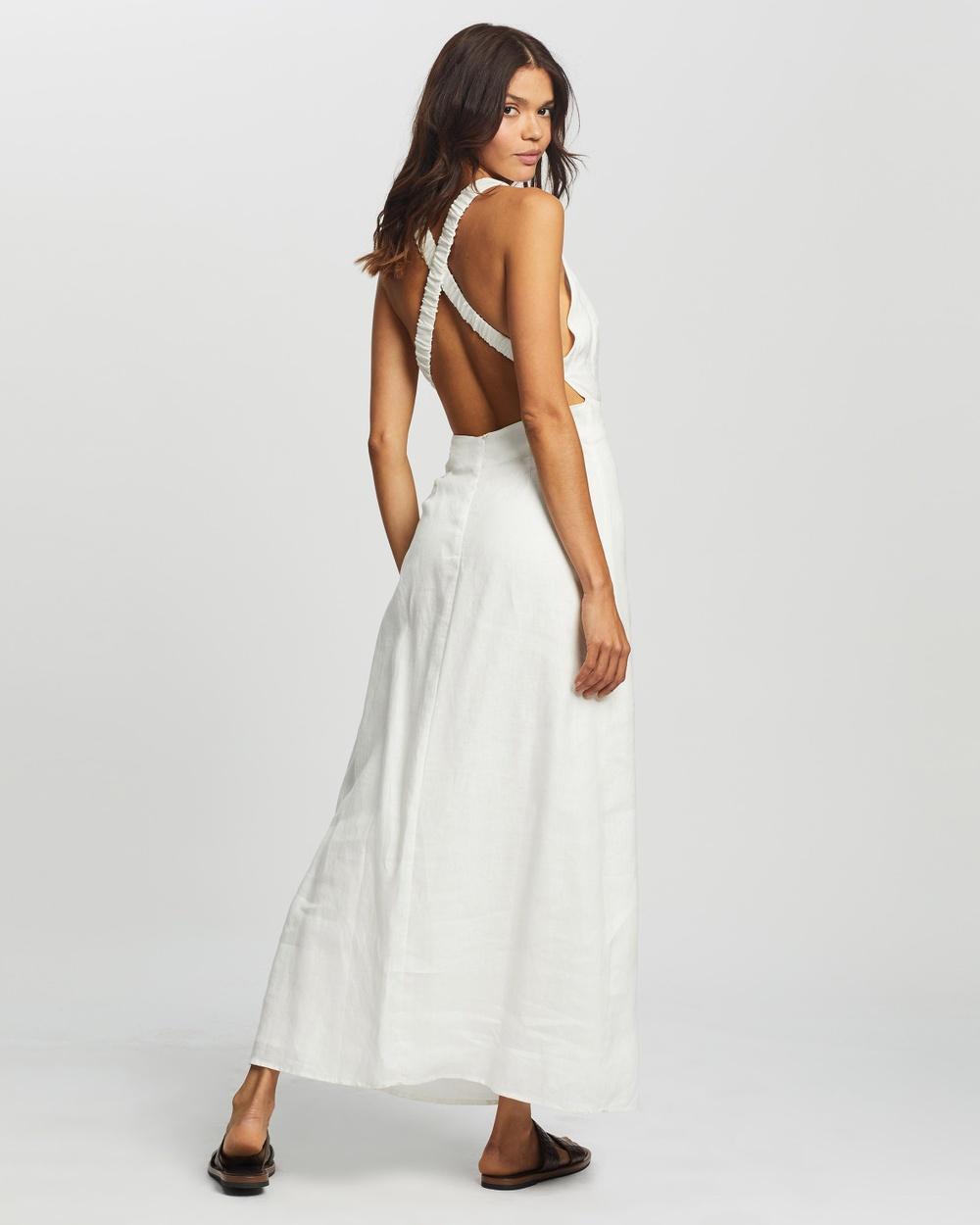 AERE Cross Back Maxi Dresses Ivory Australia