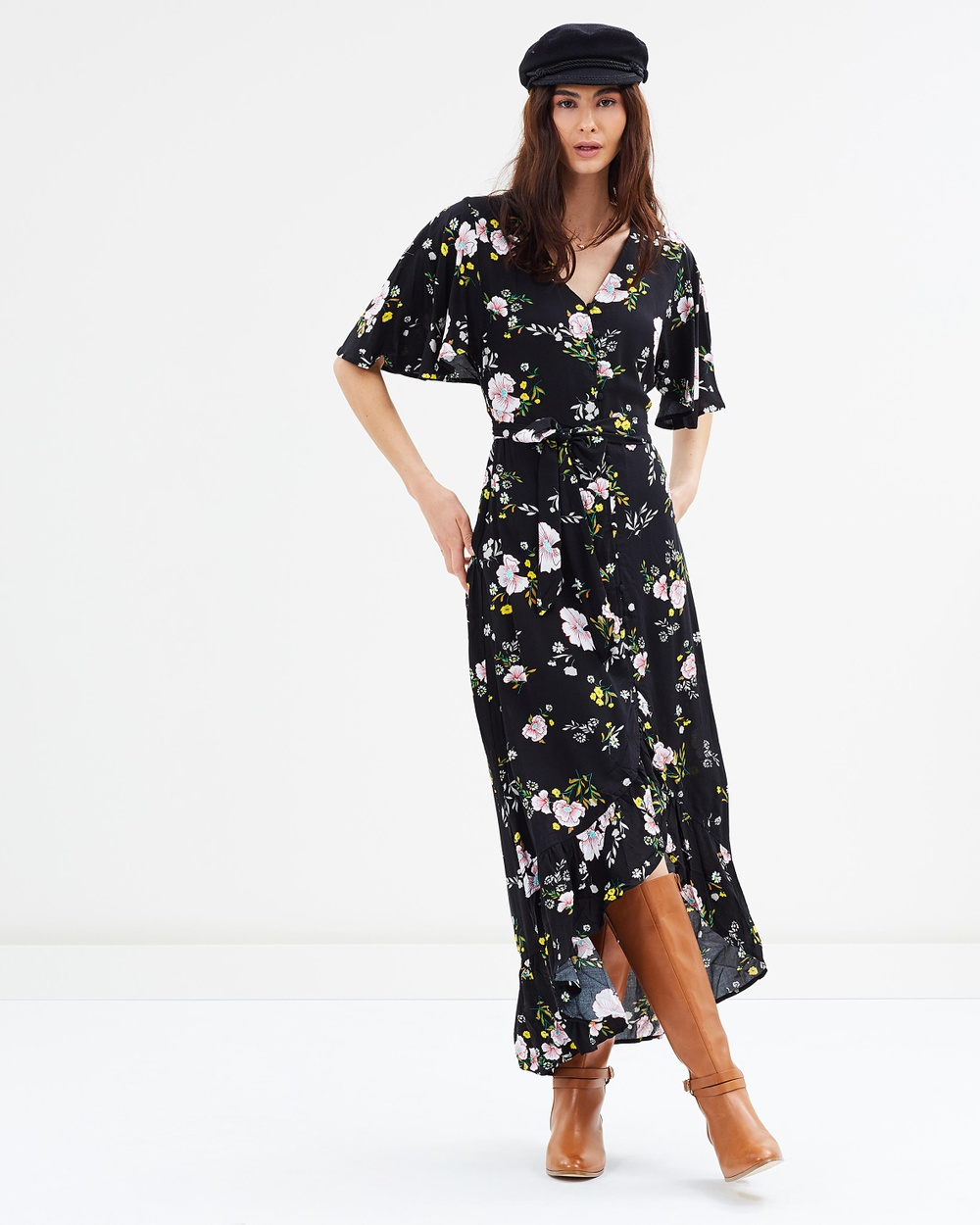 Cotton On Woven Dallas Cape Sleeve Maxi Dress Printed Dresses Sharon Floral Black Woven Dallas Cape Sleeve Maxi Dress
