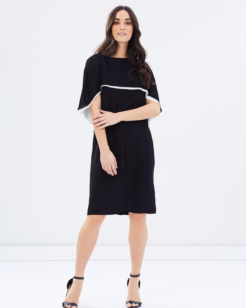 Faye Black Label Signature Cape Dress Dresses Black & White Signature Cape Dress