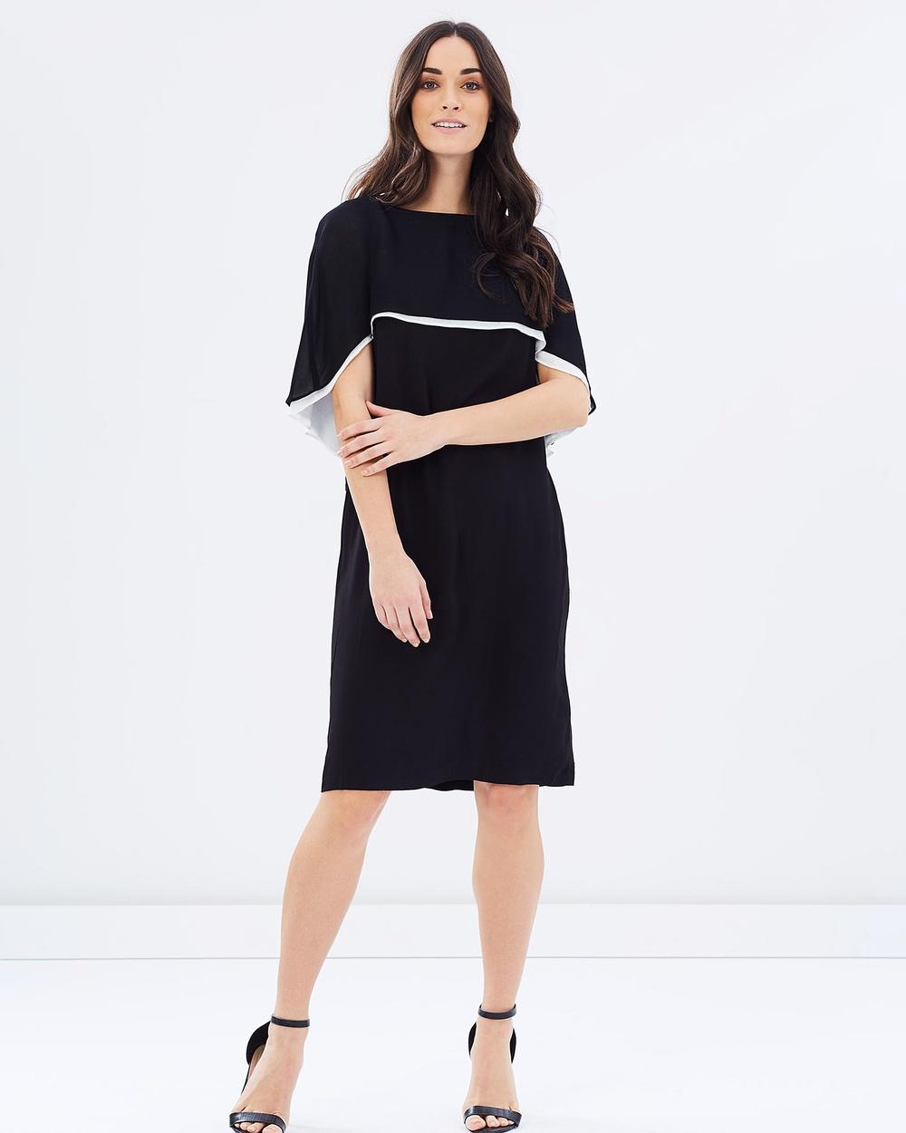 Faye Black Label Signature Cape Dress Dresses Black & White Signature Cape Dress