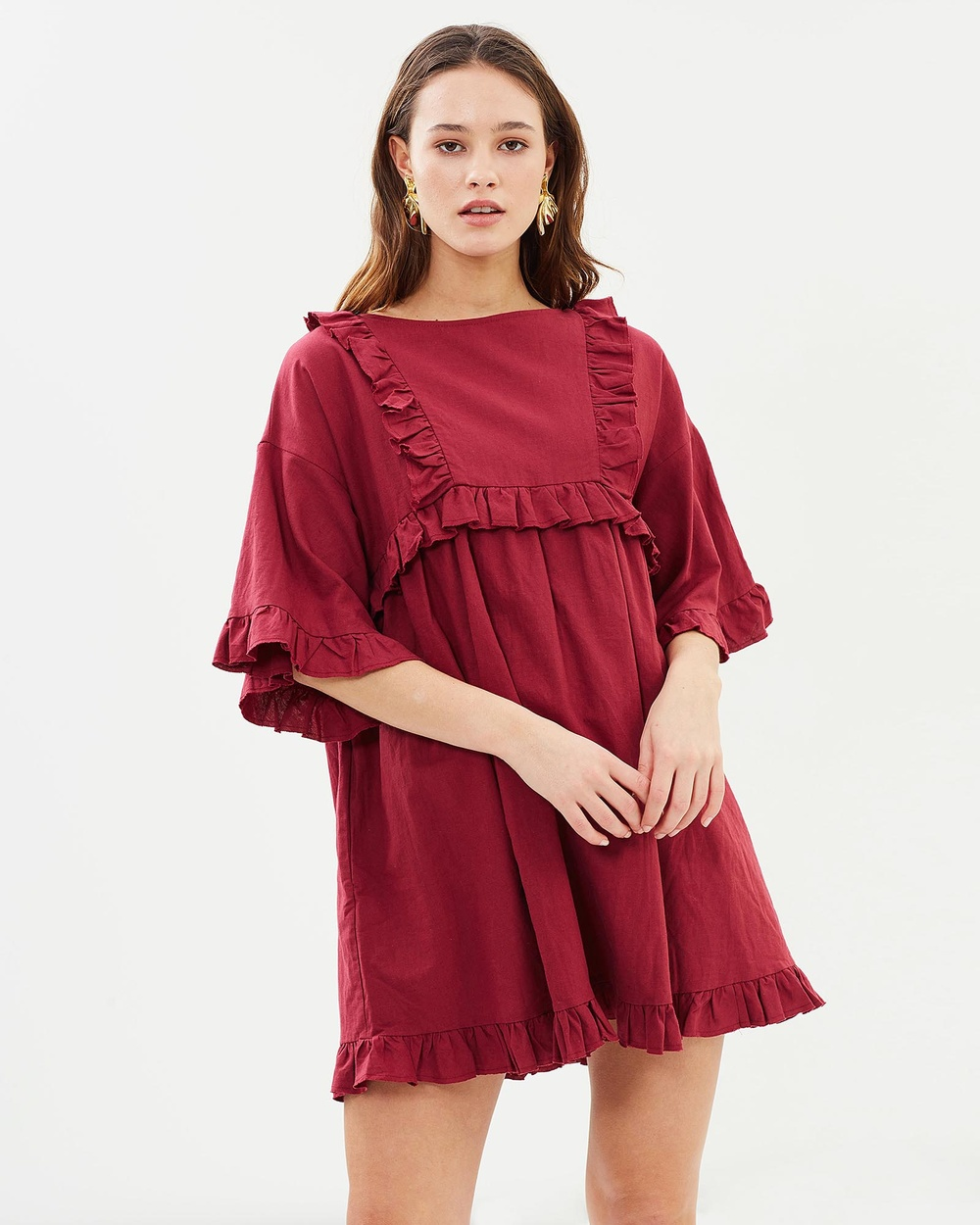 IMONNI Lyla Cotton Linen Dress Dresses Berry Lyla Cotton-Linen Dress