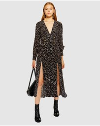 TOPSHOP Petite - Printed Button Midi Dress